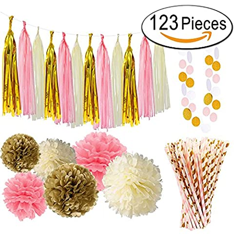 Paxcoo 24 Pcs Pink and Gold Party Decorations with Tissue Paper Pom Poms and Tassel Garland for Baby Shower Party