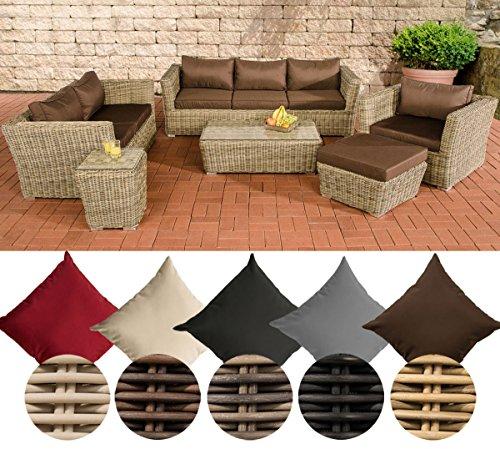 CLP Rattan Lounge MANDAL (6 Sitzplätze: 3-2-1) Premiumqualität: 5 mm RUND-Geflecht Rattan Farbe natura, Bezugfarbe: Terrabraun