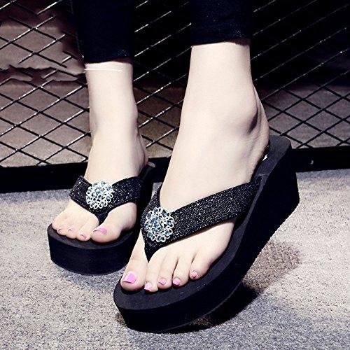 Caractères à talons hauts Sandales de diamants Pente d'été féminin avec des pantoufles de mode antidérapantes Pour les loisirs de vacances ( Couleur : 1005 , taille : 39 ) 1004