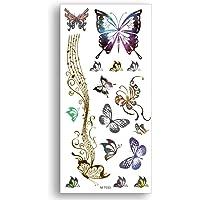 S.A.V.I 3D Temporary Tattoo Golden and Silver Metallic Sticker Butterflies Design Size 21x10cm - 1pc, Gold, 4 g