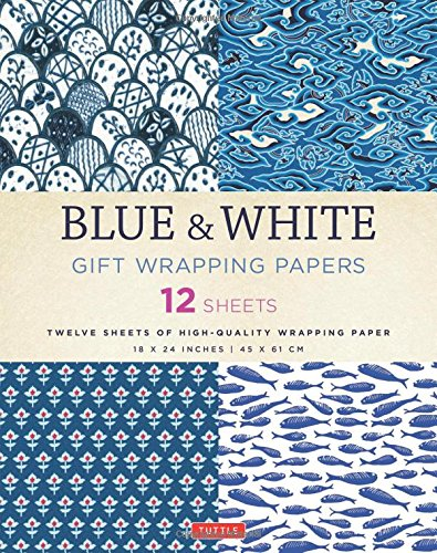 Blue & White Gift Wrapping Papers: 12 Sheets of High-Quality 18 X 24 Inch Wrapping Paper par Tuttle Publishing