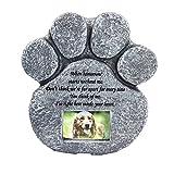 Cadillaps Impresión de la pata Perro de piedra conmemorativo del perrito de la piedra sepulcral de la piedra sepulcral