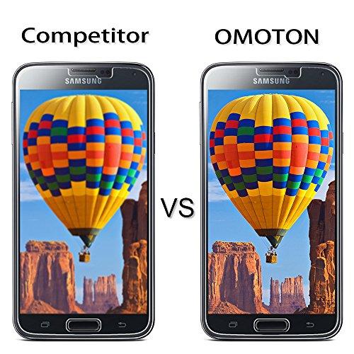 [2 Stück] OMOTON Panzerglas Displayschutzfolie für Samsung Galaxy S5, Anti-Kratzen, Anti-Öl, Anti-Bläschen, lebenslange Garantie - 5