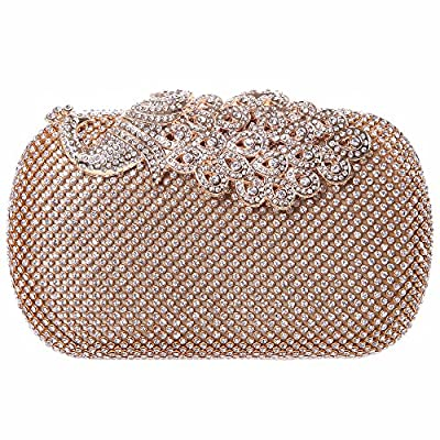 Bonjanvye Bling Peacock Clutch Purse Rhinestones Crystal Evening Clutch Bags