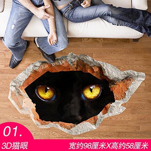 TCQ Persönlichkeit 3D Stereo Wandaufkleber Selbstklebende Aufkleber Horror seltsame Raum kreative Treppenhaus Halloween Dekorationen, 01.3D Katze Augen, groß