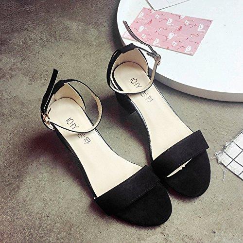 RUGAI-UE Donne fibbia scarpe sandali estivi High-Heeled Toe Sandali Black