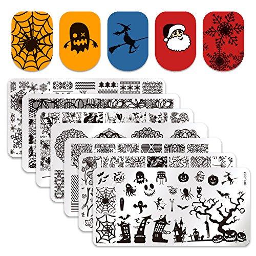 Born Pretty 7Pcs Nail Art Template Stamping Plates Christmas Santa Claus Halloween Spider BPL026-L032 (Santa Für Halloween)