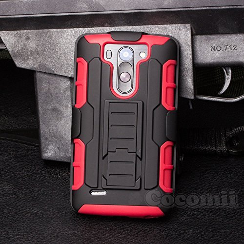 LG G3 S Funda, Cocomii Robot Armor NEW [Heavy Duty] Premium Belt Clip Holster Kickstand Shockproof Hard Bumper Shell [Military Defender] Full Body Dual Layer Rugged Cover Case Carcasa (Red)