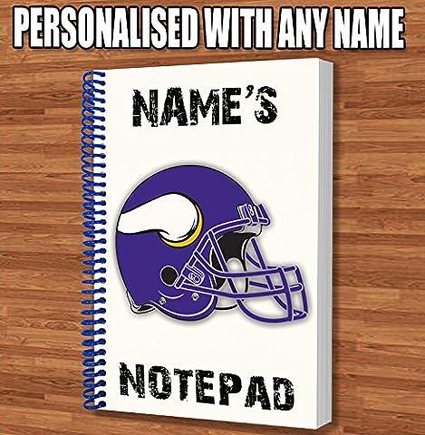 American Football NFL Personalisiertes Geschenk–Minnesota Vikings A5Coil Gebundenes Notizbuch