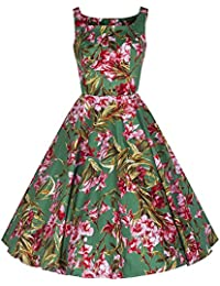 Pretty Kitty Fashion Grün Rosa Blumendruck Baumwolle 50er Jahre Swing-Kleid