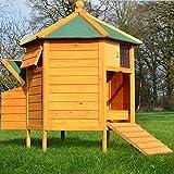 Zooprimus  Poulailler Enclos en bois pour jardin extérieure diamètre : 125 cm  Cage Canard 2 perchoir Nichoir Modèle : Pavillon 6-coin 128