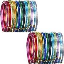 24 rollos de alambre de aluminio multicolor para manualidades, metal flexible para creación de arte y joyería, calibre 15 y calibre 20