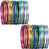 Lot de 24rouleaux de fil métallique - En aluminium - Multicolores - En métal souple - Pour la création artistique, la fabrication de bijoux - Calibres 15 et 20