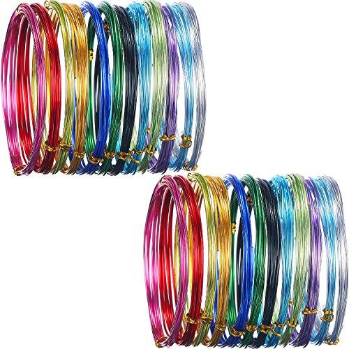 inium, mehrfarbig, flexibles Metall, für Kunst- und Schmuckdekorationen, 1,5 mm und 0,8 mm Stärke, 24 Rollen ()