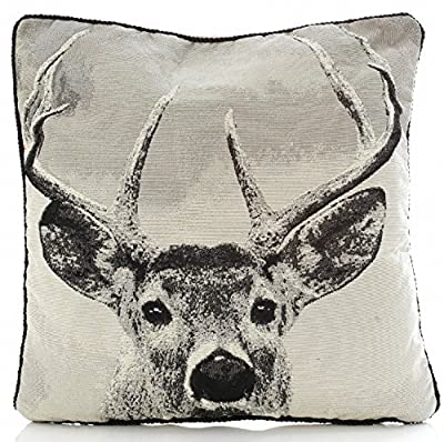 "Stag Tapestry 18"" Cushion Cover Retro Vintage Print Black, Grey & Beige"