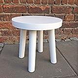 Sehr stabiler Kinder-Hocker, Nachttisch, rund, weiss, 30cm Durchmesser, mit Filz unter den Füßen