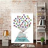 DIY Fingerabdruck Unterschrift Malerei Kreativ Hochzeit Bräutigam Braut Autos Luftballons Party Leinwand,30x40cm