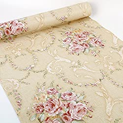 SimpleLife4U Vintage Rose Contact Paper Peel& Stick Shelf Liner Drawer Locker Sticker Beige 17.7 Inch By 9.8 Feet