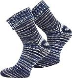 normani 2 Paar Wollsocken mit Umschlag Skandinavien-Style in bunten Farben Farbe Blau Größe 39/42