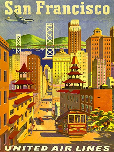 TRAVEL SAN FRANCISCO CALIFORNIA UNITED AIRLINE GOLDEN GATE USA POSTER ART - Poster Airlines United