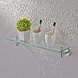 KES mensola in vetro 50,8cm-organizer portaoggetti scaffale con 8mm di spessore vetro temperato e nichel spazzolato metallo staffa di montaggio a parete rettangolare, A2021-2
