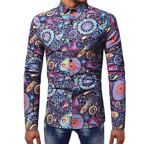 MISSQQ Camicia Elastica per Uomo, Slim Fit, Manica Lunga Casual/Formale Standard-Fit Long-Sleeve Printed Poplin Shirt Camicia Elegante da Uomo