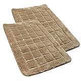 U'Artlines 2x Bathroom Mat Non Slip Absorbent Bath Mat Fluffy Microfiber 19.7 by 31.5 inches Bath Rug Gray for Bathroom(2 pack, Khaki)