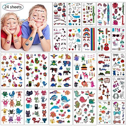 Wolintek Tatuajes Temporales para Niños Niñas, 24 Hojas Falso Tatuajes Pegatinas Tatuajes...