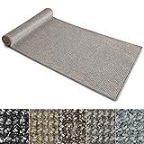 Teppich Läufer Carlton | Flachgewebe dezent gemustert | Teppichläufer in vielen Größen | als Küchenläufer, Flurläufer | mit Stufenmatten kombinierbar (Grau-Beige - 80x350 cm)