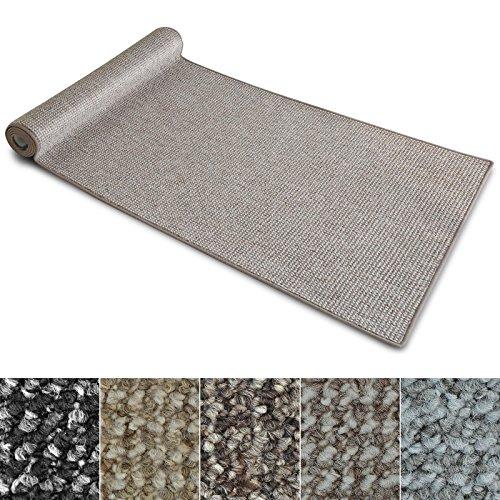 Teppich Läufer Carlton   Flachgewebe dezent gemustert   Teppichläufer in vielen Größen   als Küchenläufer, Flurläufer   mit Stufenmatten kombinierbar (Grau-Beige - 80x100 cm)