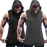 COOFANDY Men's 2 Pack Workout Tank Tops Gym Vests Fitness Hooded Vest Muscle Bodybuilding Sports T Shirts Sleeveless…
