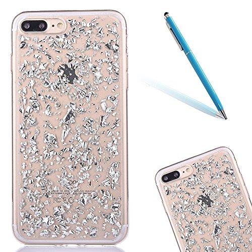 """Housse pour Apple iPhone 7Plus 5.5""""(NON iPhone 7 4.7""""), CLTPY 3D Coloré Scintillement Placage Bordure Case, Ultra Léger Mince Hull de Protection Absorption des Choques pour iPhone 7Plus + 1x Stylet -  Argent"""