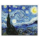 ELGDX Dipinti Fai da Te con i Numeri Dipinti di Vincent Van Gogh - La Notte Stellata Immagini astratte di Impression by Numbers with Colors, Hm3934,40X50Cm Framed
