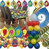 63-teiliges Deko-Set für den * 9. GEBURTSTAG * // mit Tischdecke, Wimpelkette, Geburtstagskerzen, Luftballons, Ballon-Haltern und Luftschlangen // Dekoration Kinder Kindergeburtstag neunter bunt Kerzen