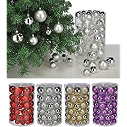 Palle di Natale Set 60pezzi oro, lilla, argento e rosso albero di Natale sfere per albero di Natale gold