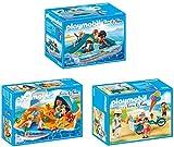 PLAYMOBIL® Family Fun 3er Set 9424 9425 9426 Tretboot + Familie am Strand + Fahrrad mit Eiswagen