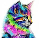 Kit per pittura fai-da-te con diamanti 5D - Dipinto su tela con disegno di un grazioso gattino, da ricamare a punto croce e decorare con diamanti, decorazione da parete Cute Cat