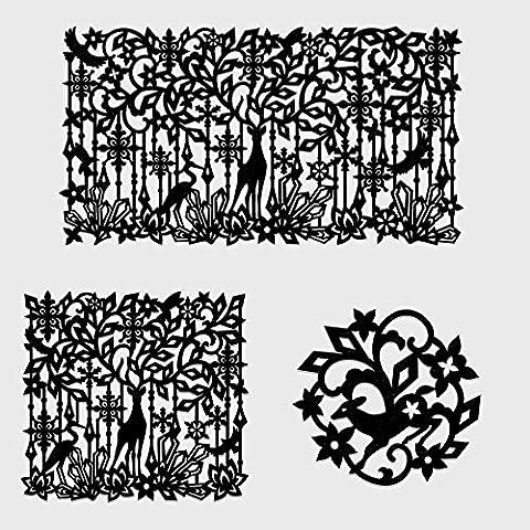 Yazi Squelette Noir Cerf Fleur Tissu non tissé Table Napperon et carrés en feutre Set de table et sous-verres ronds 3pcs/lot