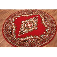 Alfombra Tradicional de Medallón Roja Circular 160cm (5 pies 3