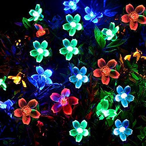 LED Solar Lichterkette Blumen Garten Außen 50er LED 7 Meter Solar Beleuchtung für Party, Weihnachten, Outdoor, Hof, Zaun, Fest Deko (Mehrfarbig)