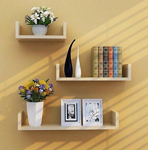 TYLIU Kleiderbügel Wand Wand Regale Regale Wandbehänge Massivholz Keine Punch 3-Teilige Verschiedene Stile Setzt, Weiß Ahorn