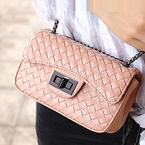 Young & Ming Damen Mini Soft Leder Schultaschen Handtaschen Clutches Schultertasche Messenger Bag mit Metallkette Rosa
