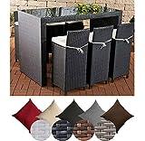 CLP Gartenbar-Set LENOX aus wetterbeständigem Polyrattan | Gartenmöbel-Set mit 6 Barhockern inkl. 6 Sitzkissen und einem Bartisch | In verschiedenen Farben erhältlich Rattanfarbe: Schwarz, Bezugfarbe: Anthrazit