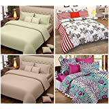Story@Home Magic 152 TC Pack 4 Pcs Bedsheets with 8 Pillow Covers Multi