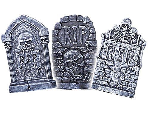 3 Stück Grusel Set Halloween Grabsteine Skelett Schädel Look wetterfest Outdor tauglich