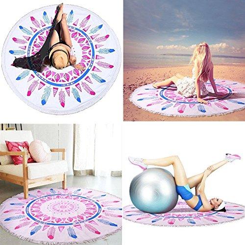 Alfombra para bebé, redonda diámetro 150cm grueso- 8mm y suave, Toallas playa grande, mandala microfibra esterillas Yoga manta, mandala con flecos.(púrpura con azul)