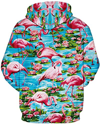 AMOMA Damen digitaldruck Kapuzenpullover Tops Unisex Hoodie Pullover Hooded Sweatshirt Flamingo