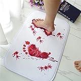 Danigrefinb Tapis de bain décoratif antidérapant pour effrayer vos amis, Polyester, Blanc + rouge., Taille unique