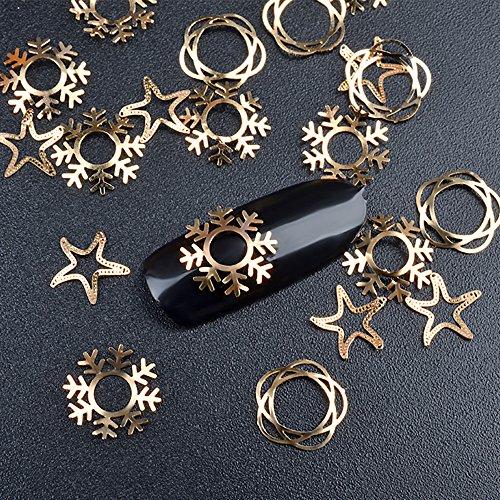 ufkleber Design Zubehör Jamicy® 1 Box Ultra dünnen 3D Bronze Metallplatten Schillernde Nail Sticker Bunte Nail Art Dekoration ()