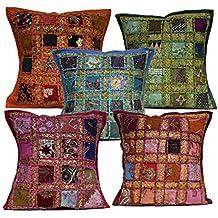 5pcs Multi lentejuelas Patchwork indio bordado sari Throw almohada fundas de cojín 16x 16pulgadas
